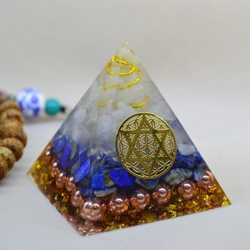 Natural Chakra Crystal Orgonite Pyramid Reiki Feng Shui Decoration Crystal Rune Orgone Accumulator Home Office Decoration