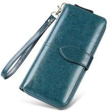 Купить с кэшбэком Retro Oil Wax Leather Wallet Women Wallets Long Clutch Bags Woman Card Holder Coin Purse Money Bag Phone Pocket Cartera Mujer