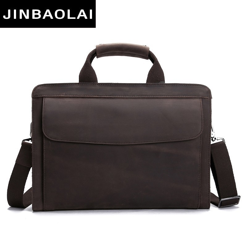 Luxury 100% Crazy Horse Leather Top Sell Simple Famous Brand Business Men Briefcase Bag Laptop Bag Vintage Man Bag Shoulder Bags