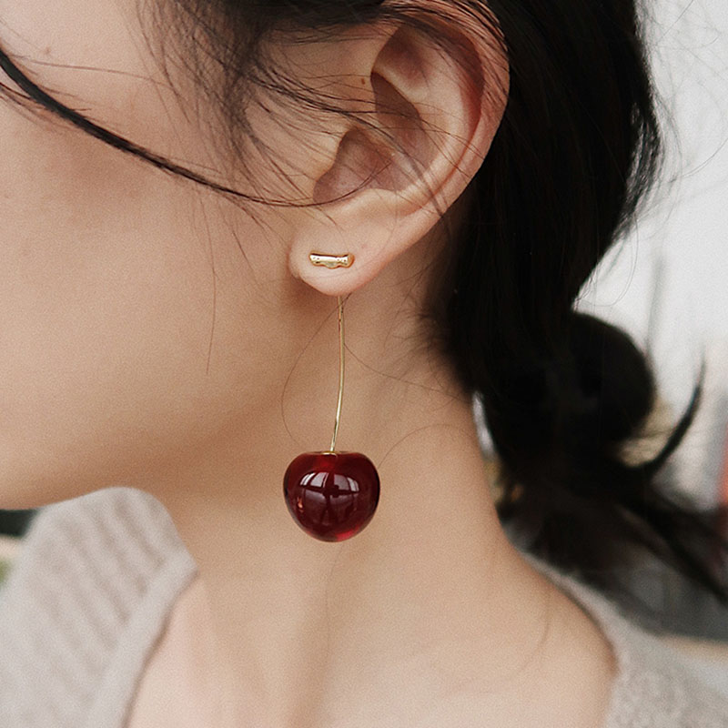 Cherry-Earrings Fruit Long-Ear-Nail American Fashion Lady European Temperament And New title=