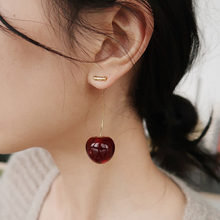 New European and American Fruit Fashion Long Ear Nail Temperament Cherry Cherry Earrings Lady Earrings(China)