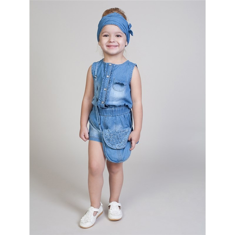 Overalls Sweet Berry Denim overalls for girls kid clothes raw hem ripped button front denim overalls