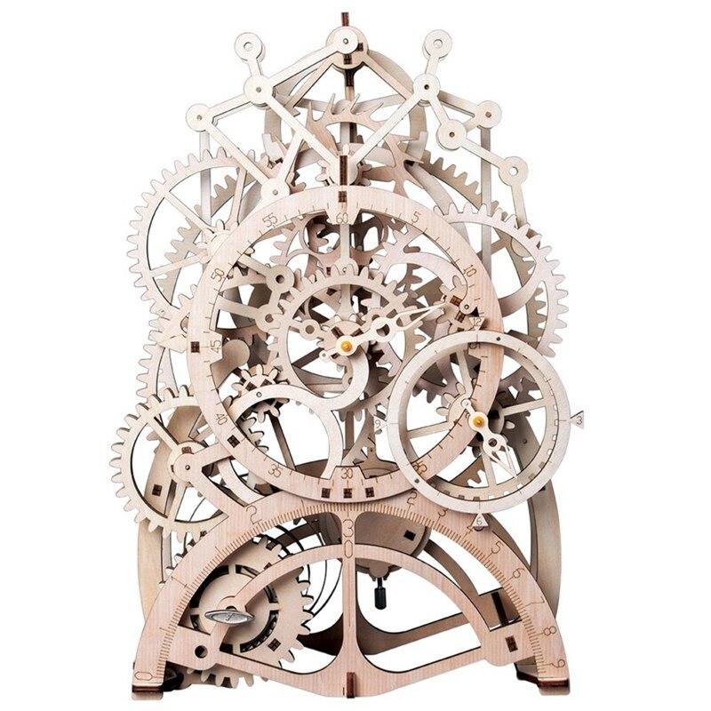Robotime 3D Puzzle bricolage mouvement assemblé en bois modèle articulé pour enfants adolescent horloge printemps jouet Lk501-pendule Cloc
