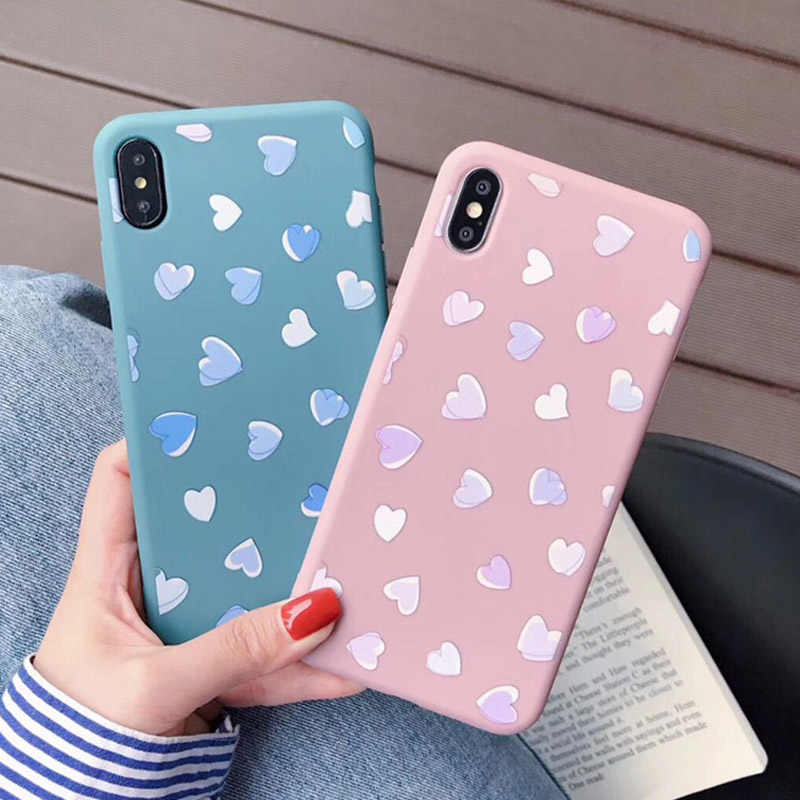 Uslion Love Heart Phone Case For Iphone X Xs Xr Xs Max Candy Color Matcha Soft Tpu Silicone Case Cover For Iphone 6 6s 7 8 Plus