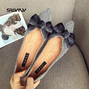 Image 5 - أحذية نسائية من SWYIVY أحذية بدون كعب للنساء 2019 أحذية نسائية غير رسمية بفيونكة مخططة بدون كعب أحذية بدون كعب مقاس 41 لون أسود