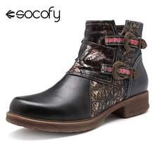 7cd48bd63 Socofy de moda corto negro de piel Botas zapatos de Mujer de cuero genuino  vaquera Botas de invierno zapatos de Mujer Botas nuev.
