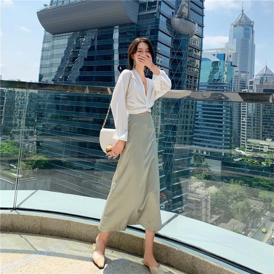 Han edition long sleeve skirt will control the spring/summer outfit design feeling knot women chiffon   blouse     shirt