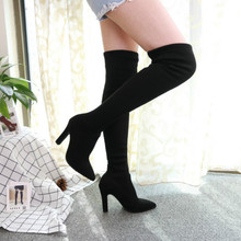 Women Over The Knee High Boots Slip on Winter Shoes Thin Heel Pointed Toe All Match  cowboy boots for women