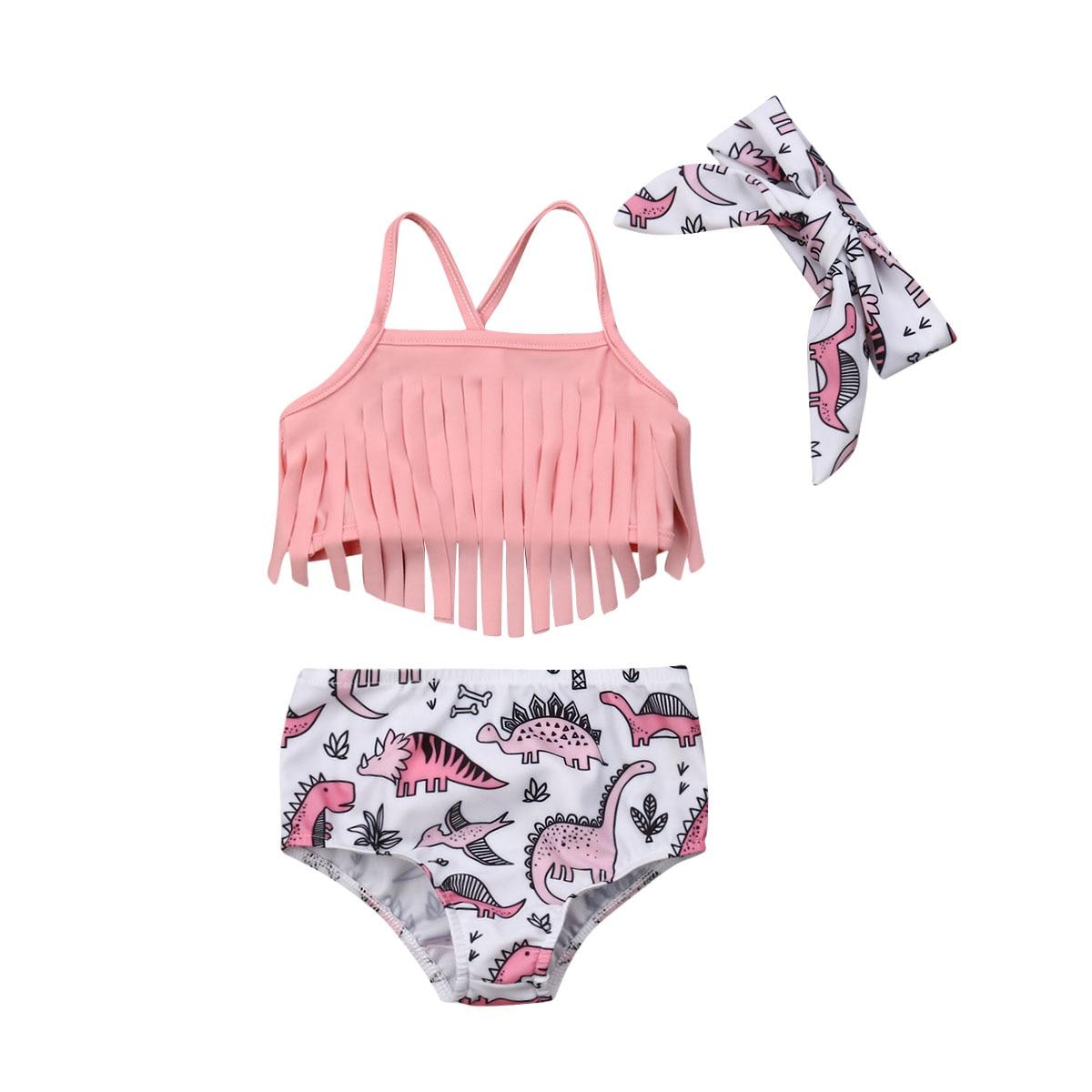 Baby Swimsuit 2019 New Summer Kids Girls Tassel Strap Tops Dinosaur Bottom Headband 3PCS Swimwear Beachwear Bathing Suit 0-24M