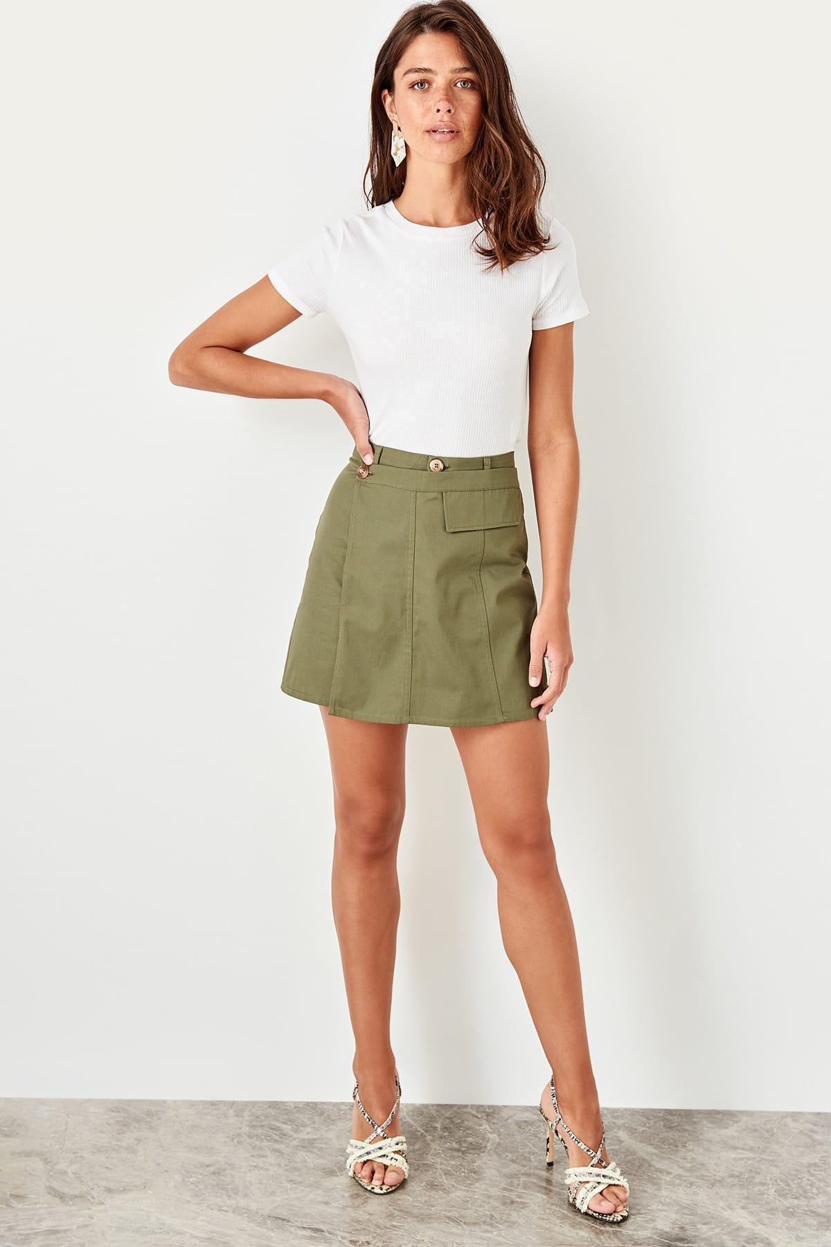 Trendyol Haki Button Detail Skirt TWOSS19XB0131