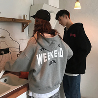 2018 Korean version of BF wind couple loose hooded plus velvet casual sports top size S XL gray / black Best Fashion hoodies