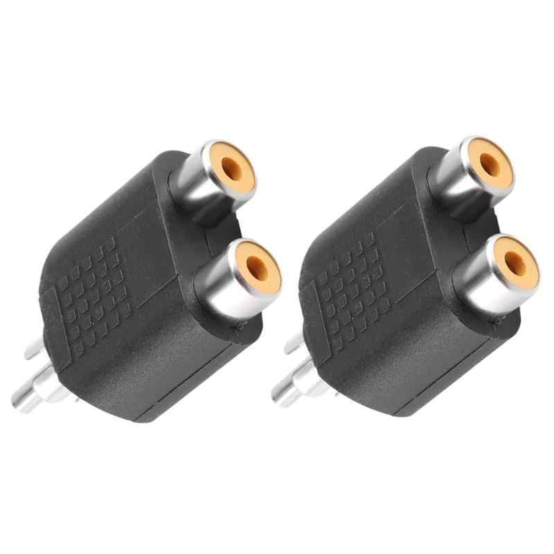 Alloyseed 2 Pcs RCA Y Splitter Audio Video AV Kabel Plug Converter 1 Male To 2 Perempuan Adaptor Kabel Konektor adaptor