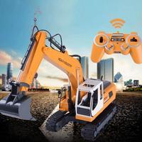 Draadloze Gamepad DIY Techniek Voertuig Speelgoed Graven Boren Aangrijpend 3 In 1 Legering Graafmachine Afstandsbediening Speelgoed 17 Kanalen