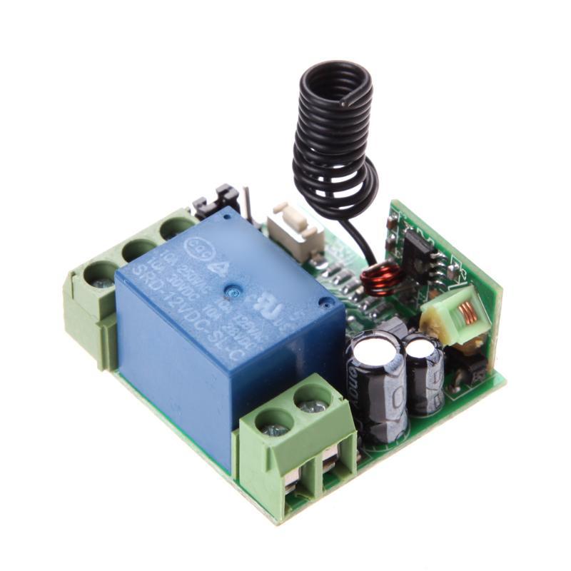 Dc12v 새로운 dc12v 10a 1ch 무선 원격 제어 스위치 송신기 수신기 35mm * 32mm * 17mm 송신기 배터리