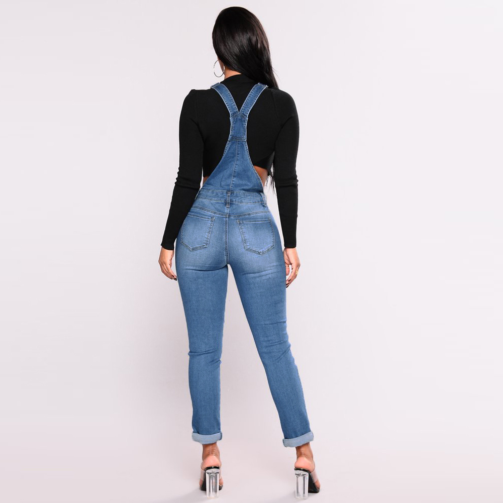 2019 New Women Denim Overalls Ripped Stretch Dungarees High Waist Long Jeans Pencil Pants Rompers Jumpsuit Blue Jeans Playsuit 4