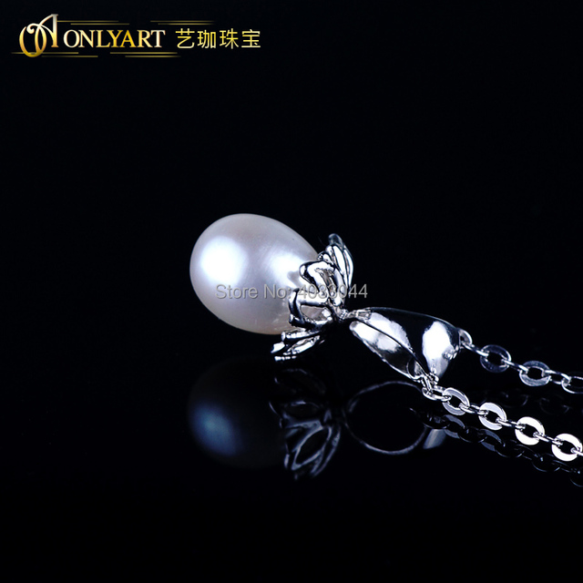 OnlyArt natural 925 silver pearl pendant necklace for women oval pearl necklace s925 silver chain choker for monther's day