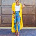 Casaco feminino manga comprida venda quente turn down collar casual tops cardigan fino outono feminino sólido amarelo outwear moda casaco