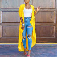 Women Coat Long Sleeve Hot Sale Turn Down Collar Casual Tops Cardigan Thin Autumn Female Solid Yellow Outwear Fashion Coat