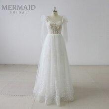 mermaidbridal Backless gray beaded lace boho wedding dress