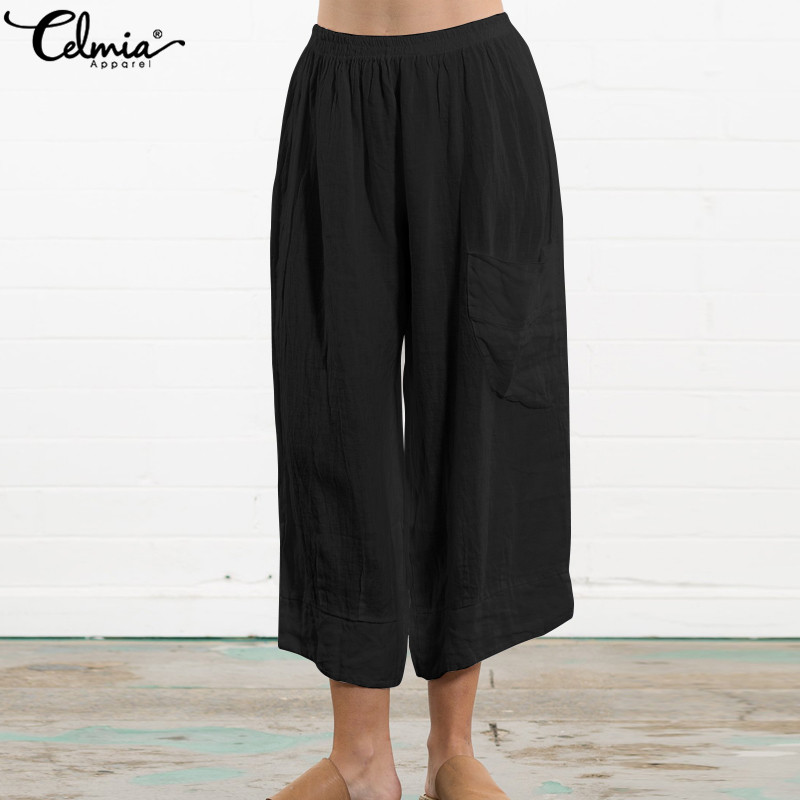 Celmia 2019 Retro Linen Trousers Palazzon Women Elastic Waist Harem Pants Summer Casual Loose Pleated Wide Leg Pant Plus Size5XL