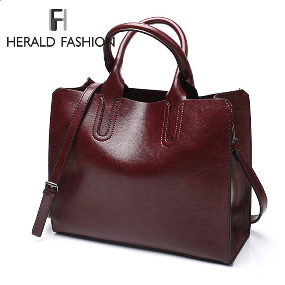 Herald Fashion Women Leather Handbags Big Capacity Quality Solid Casual Female Shoulder Bag Large Casual Ladies' Tote Bag Bolsos