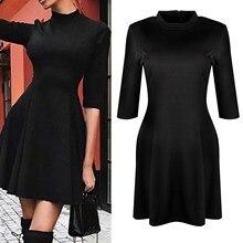 цена на Solid Party Dress Black Round Neck Half Sleeve Fit A Line Dresses Women Elegant Spring Dress