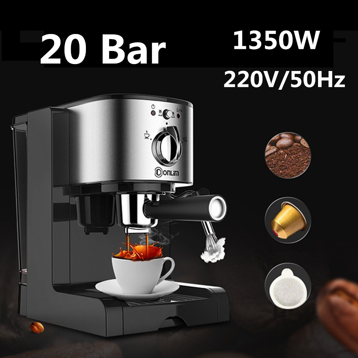 DL-KF500 Semi Automatic Coffee Maker 3In1 Cafe Maker Machine Kitchen 1.5L  Barista Espresso Machine Milk SteamerDL-KF500 Semi Automatic Coffee Maker 3In1 Cafe Maker Machine Kitchen 1.5L  Barista Espresso Machine Milk Steamer