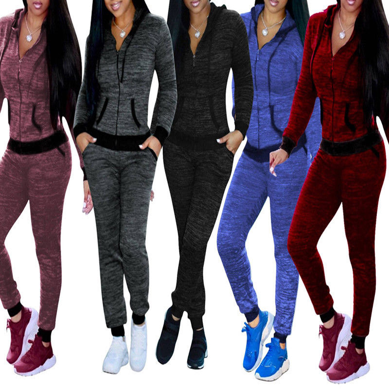 Spring Autumn 2019 Casual Tracksuit Women 2Pcs Set Tops And Jogger Pants Woman Zipper Hoodies Sweatshirts Sweat Suit Sport Suits