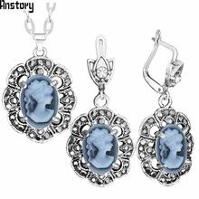 Vintage lady queen cameo jewelry sets plumflower pendant rhinestone