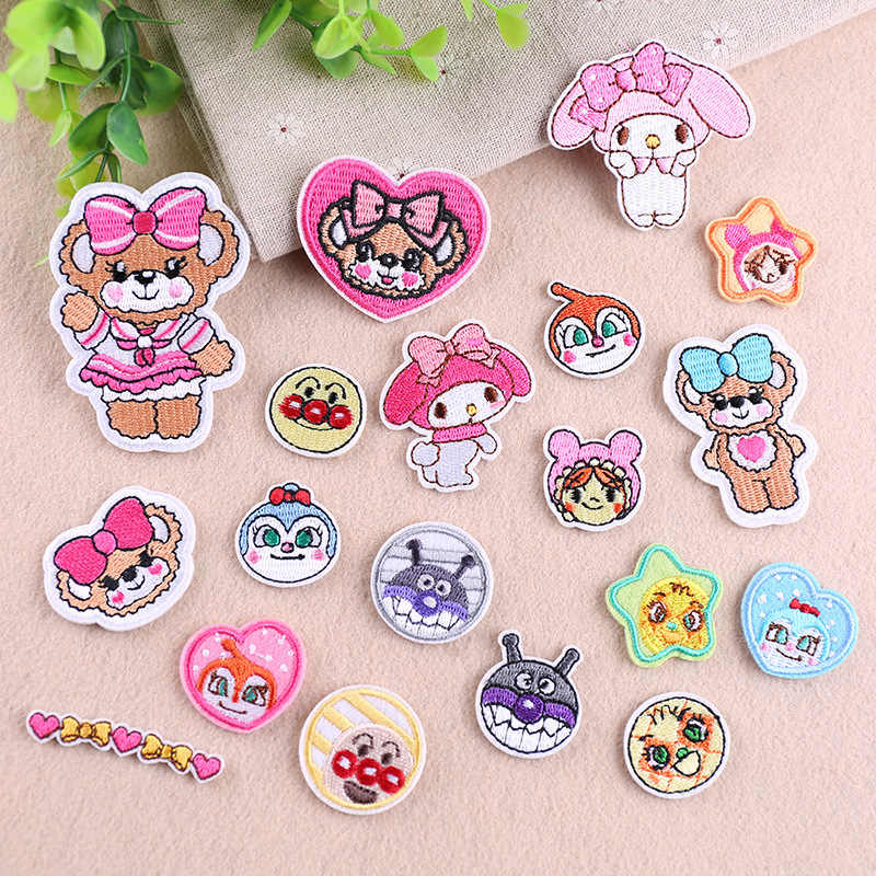 PGY 1PCS Clown Patches Cartoon Sheep Badges Cute bear girl Iron On Patches For Kids Clothing Stickers T-shirt Jeans Applique