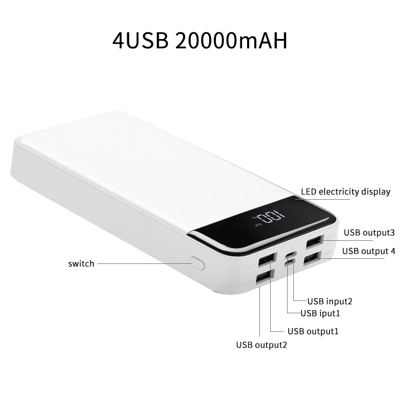Pover Bank 20000 mAh For Xiaomi Mi 2 Quick Charge 3.0  Portable Charger power bank for samsung phones Pover Bank 20000 mAh For Xiaomi Mi 2 Quick Charge 3.0  Portable Charger power bank for samsung phones