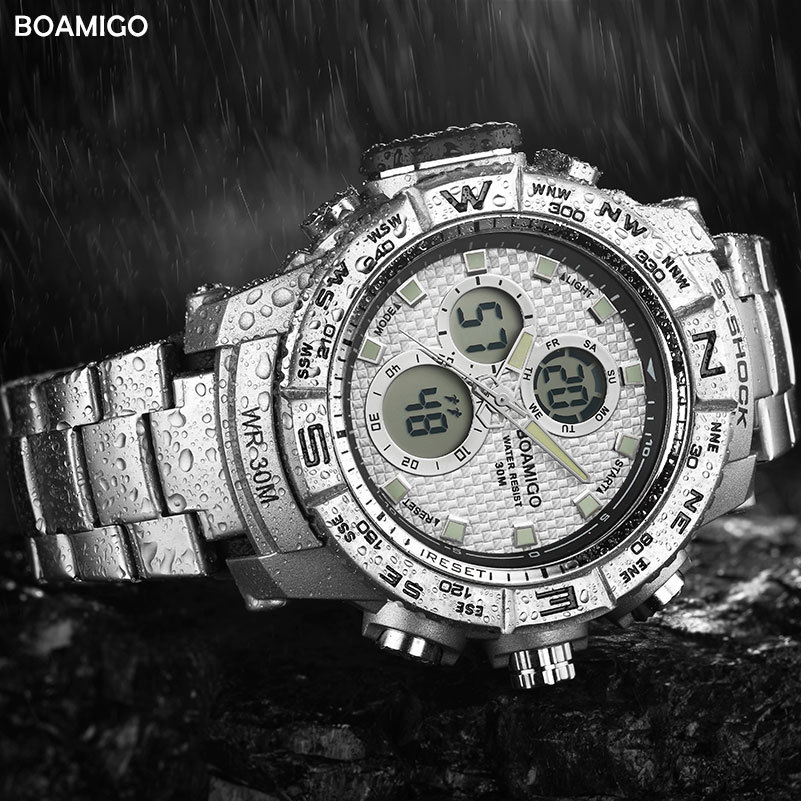 BOAMIGO Sport Watches For Men Stainless Steel LED Digital Analog Watch Men Waterproof Quartz Luxury Brand Chronograph Male Clock in Quartz Watches from Watches