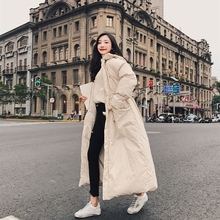 LANMREM Winter New Fashion Loose X-long Parkas Full Sleeve Casual Simple Loose Big Size Trendy Hooded Women Cotton-padded UA094