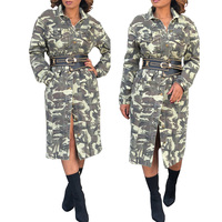 2018 New Camouflage Print Winter Dress Autumn Fashion Long Sleeve Button Down Long Dress With Sashes Vestidos Femininos