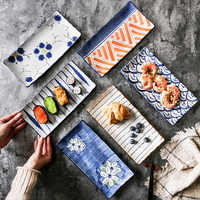 Japanese Glaze Down Painted Pottery Plate Sushi Disc Rectangle Dish Dumplings Pan-fried Fish Dish With Sunlight Sauce