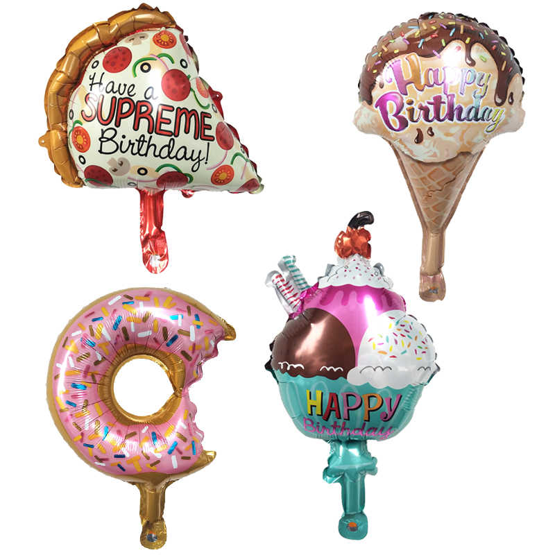 1PC Mini Pizza Donut Ice Cream Foil Balloons Happy Birthday Party Decoration Baby Shower Baby Years Balloons Globos Kids Toys