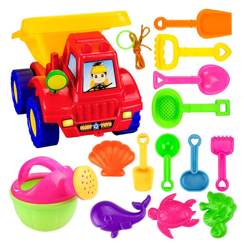 14pcs Kids Beach Toy Set ABS Green Plastic Shovel Rake Kit Play Truck Sand Play Toy Children's Outdoor Beach Toys Kit