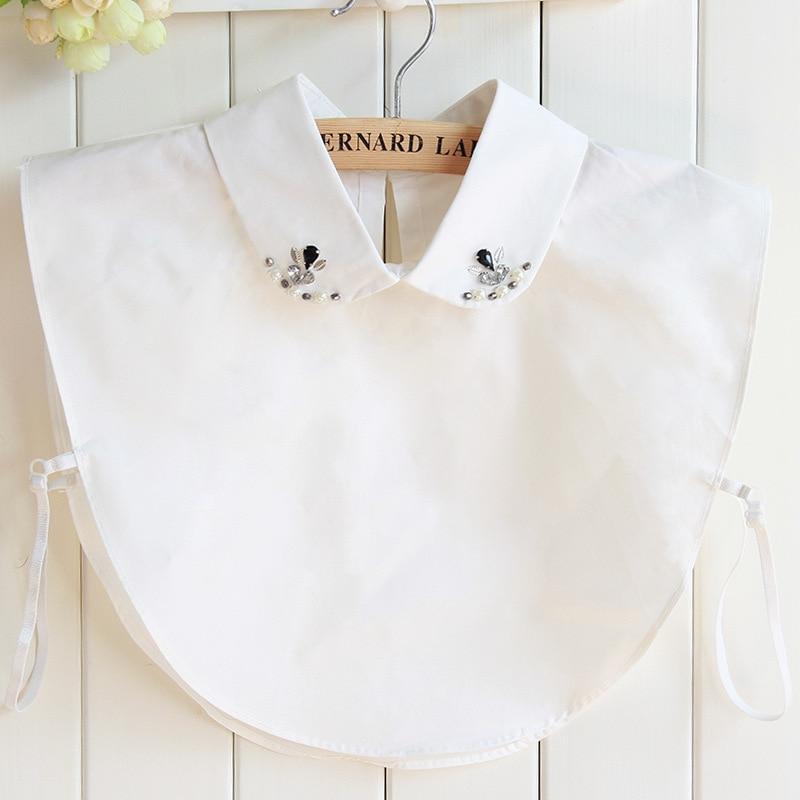 Pure Cotton Fashion Nail Pearl Dickie Shirt White Shirt Fake Collar Detachable Removable Women Blouse Wholesale