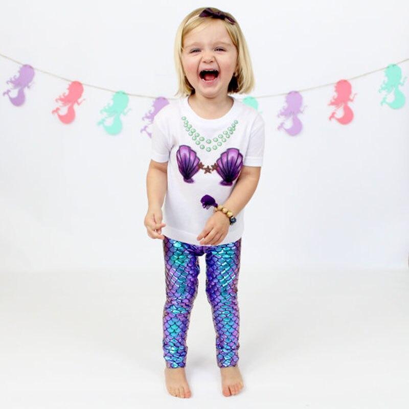 New Cute Kid Baby Girls Toddler Mermaid FishScale Leggings Pant Stretchy Pencil Pants
