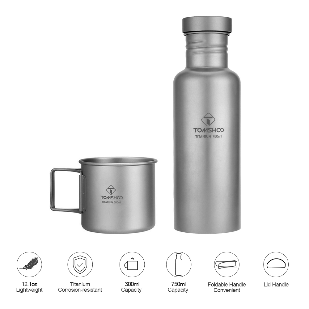 TOMTOP Outdoor Sports Tableware Sets 300ml Titanium Cup and 750ml Titanium Water Bottle Water Cup Lightweight