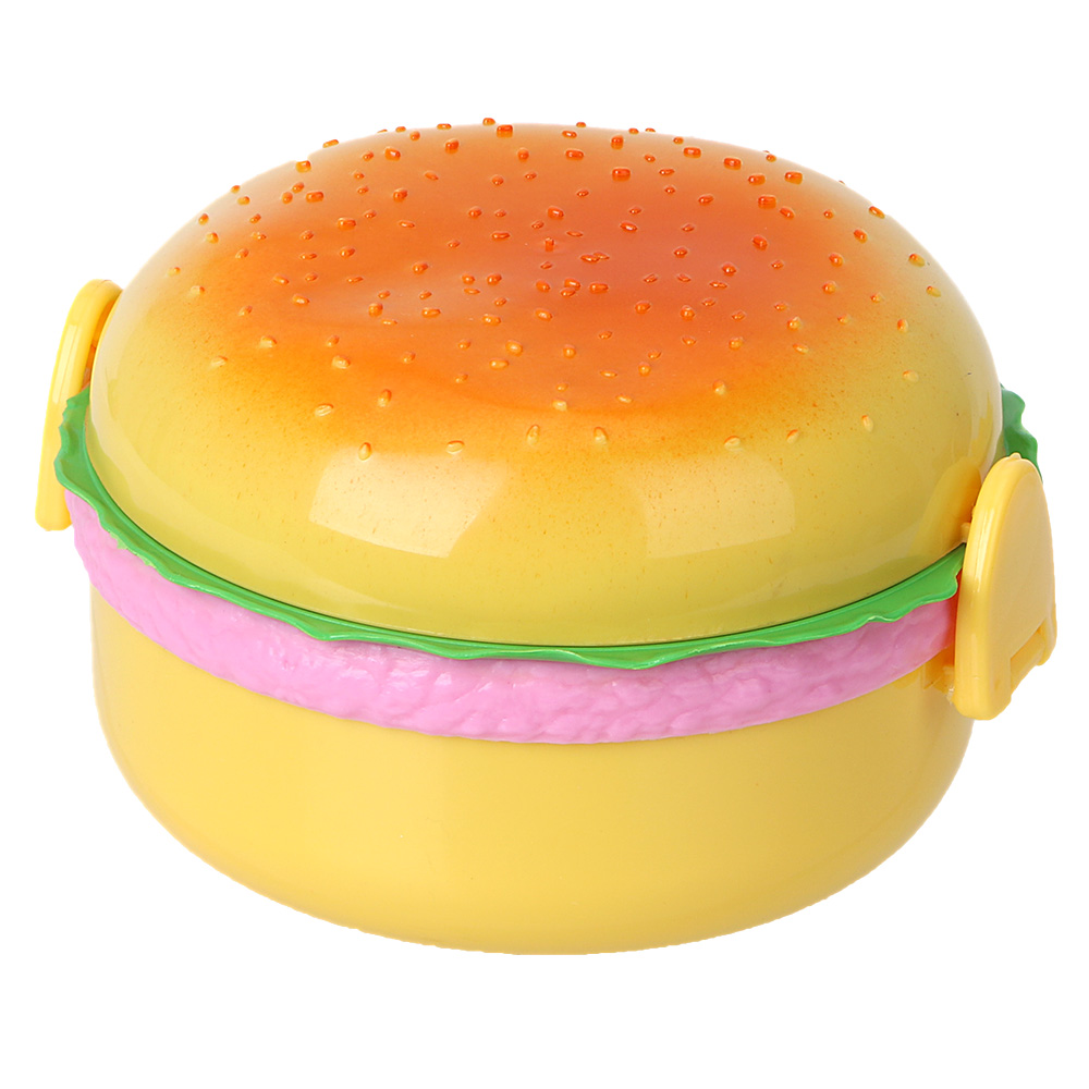 Hamburger Double Tier Lunch Box For Kids Children Bento Boxes Plastic with Spoon Fork 800ML Food Container Storage Lunchbox