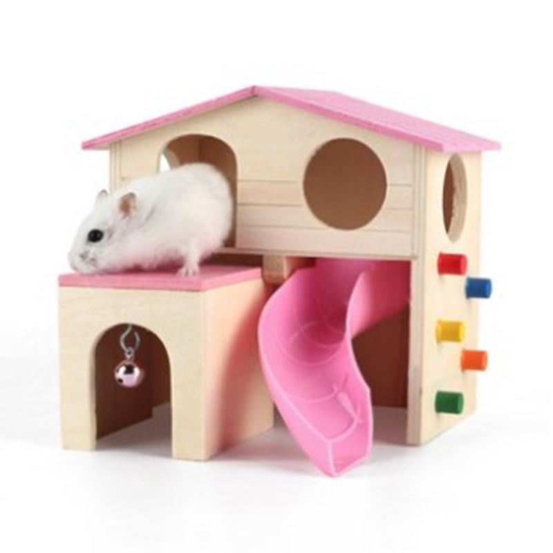 Durable Wooden Hamster Nest House Double Layered Hideout Hut with Bell Ladder Small Animal Exercise Play Toy for Hamsters Mouses