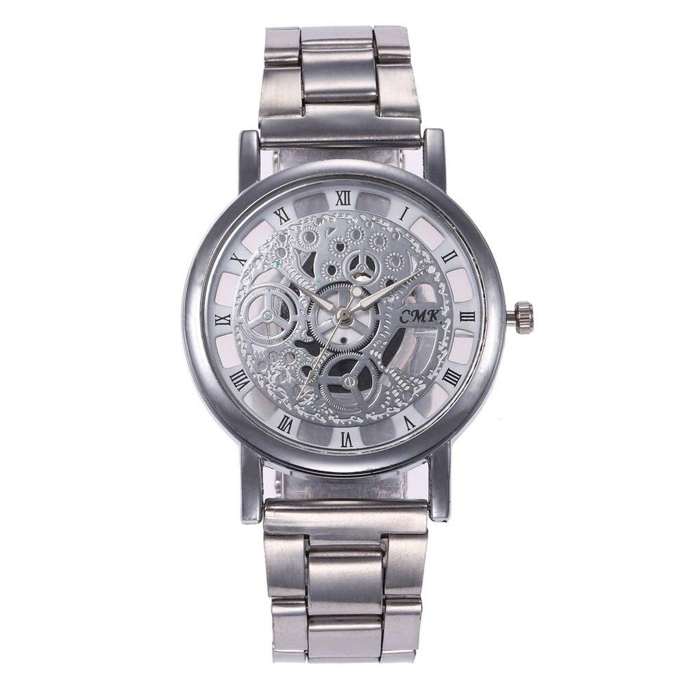High Class Hollow Out Steel Case Wristwatch Men Fashionable Watch Fashion Round Dial Men Busibess Sports Quartz Wrist Watches
