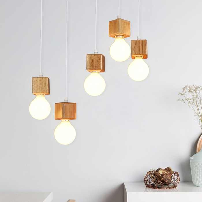 Wooden Square cup Led hanging Lamp Base E27 flament Lamp Holder Vintage Retro Pendant Bulb Light Screw E27 Socket