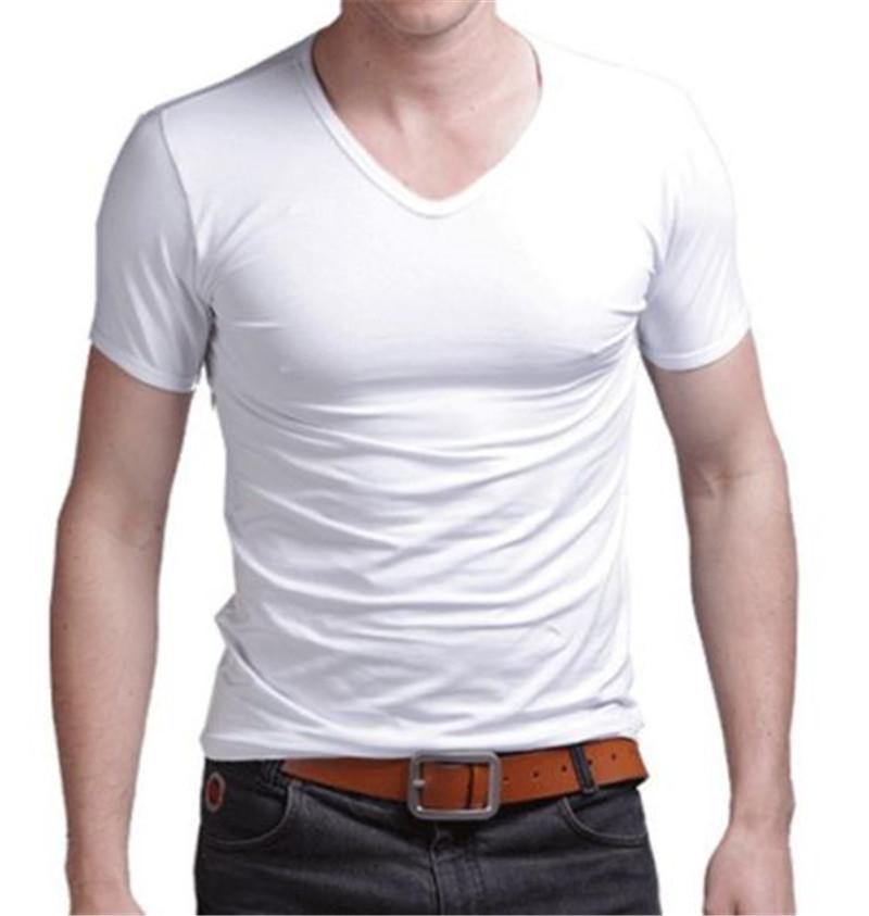 Fashion Summer Men Cotton T shirt casual short sleeve V neck T shirts Black White Plus Size M XL V Neck Tops Tee Shirt Slim Fit