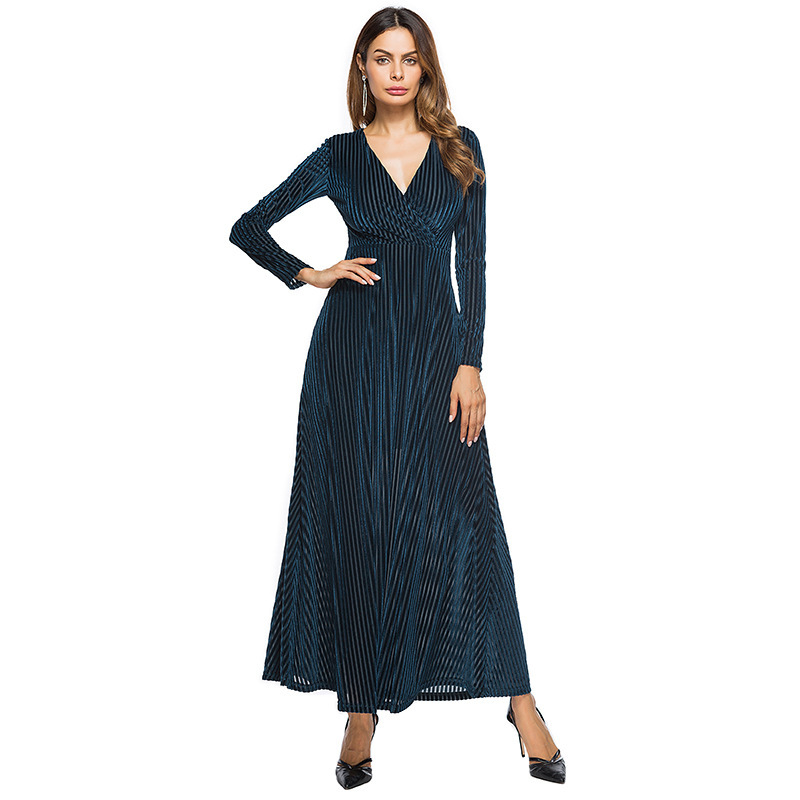 Elegant Satin Evening Dresses New Women's Abaya A-Line Striped Loose Long Sleeve Maxi Long Summer Dresses 2019 Arabian Clothing
