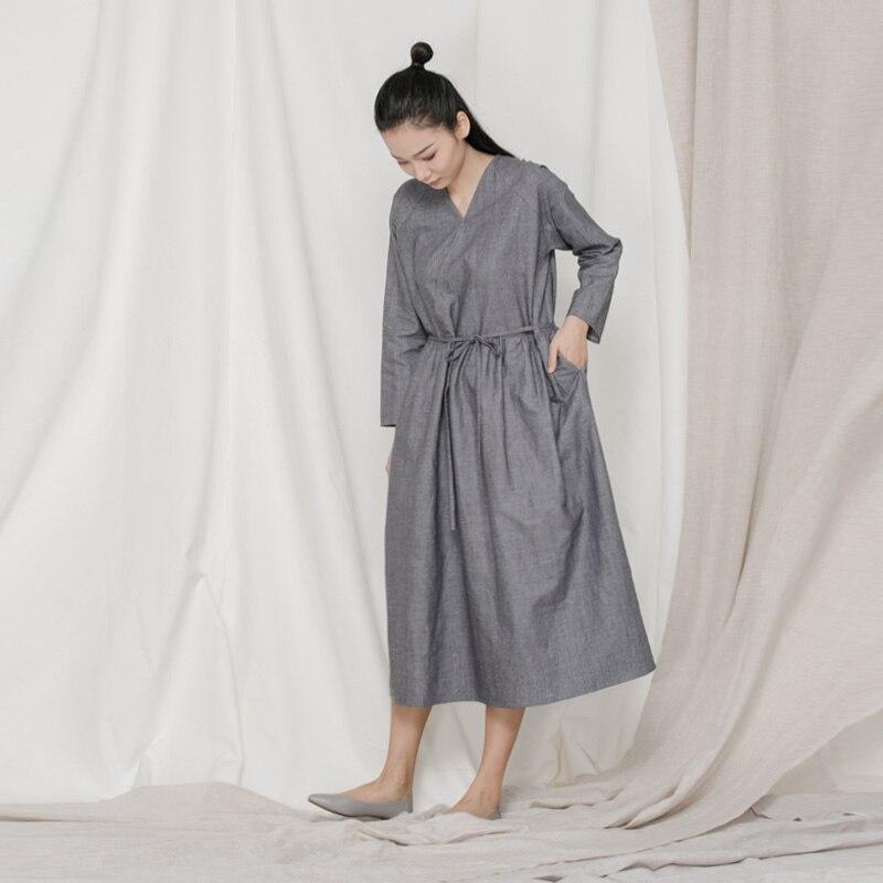 Décontractée Manches Coton Sans Oblique Main Boue À lin Bufu Tenue D'origine couleur Lâche Chinois Tie up Pur Printemps Fond Longues 5xnHP06Pq