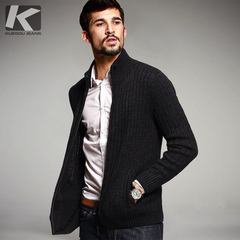 Mode Automne Mens Chandails Mâle D'hiver de Cardigan Homme Noir Tricots Slim Fit Zipper Marque Vêtements SweaterCoats 16807