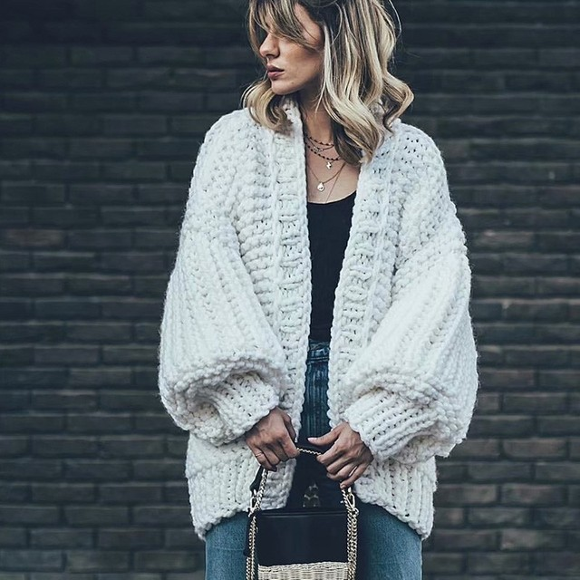 TryEverything Cotton Knit Sweater Women Winter 2019 Thick Cashmere White Crochet Cardigan Women Long Sleeve Femme Cardigans Coat