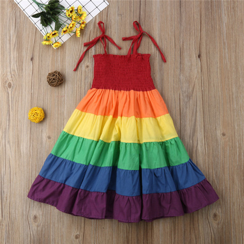 2-7 Years Toddler Kid Baby Girl Rainbow Pageant Party Princess Dress Sundress Colorful Clothes 1